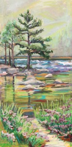"Fishing Waters, Plein Air, 15"" x 30"" oil on canvas"