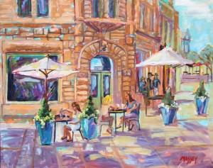 """Sidewalk Cafe, plein air, 16"""" x 20"""" , oil on canvas"""